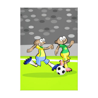 Soccer player running quickly with the ball canvas print