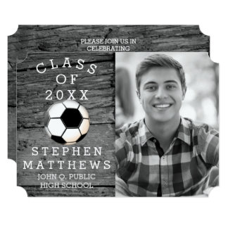 Soccer Player Rustic Photo Graduation Card