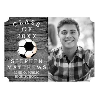 Soccer Player Rustic Photo Graduation Card