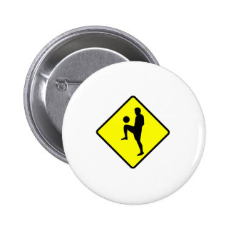 Soccer Player Silhouette Crossing Sign Button
