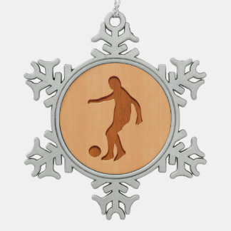 Soccer player silhouette engraved on wood design snowflake pewter christmas ornament