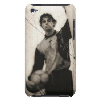 Soccer player standing behind net barely there iPod cover