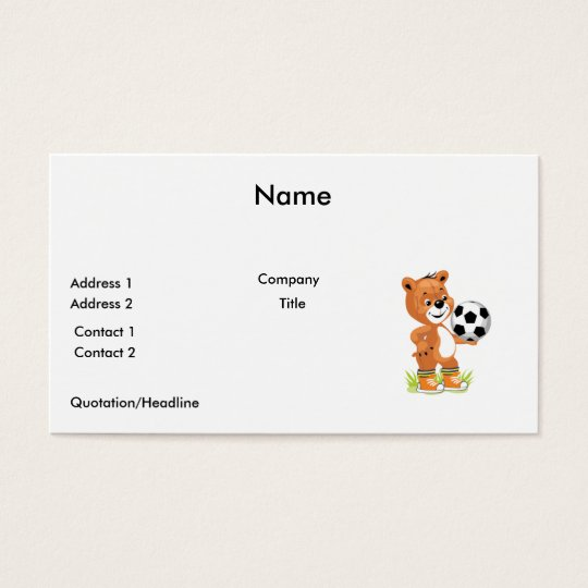 soccer player teddy bear cartoon graphic business card