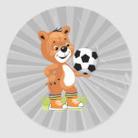 soccer player teddy bear cartoon graphic round stickers