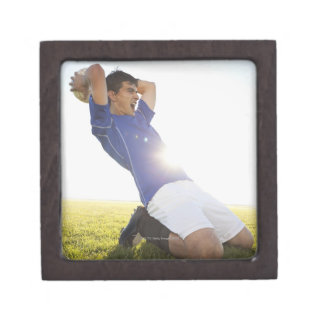 Soccer player throwing ball jewelry box