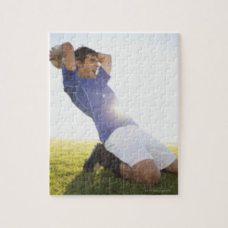 Soccer player throwing ball puzzle
