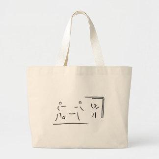 soccer player torschuss football large tote bag