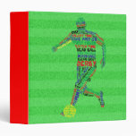 Soccer Player Typography 3 Ring Binder