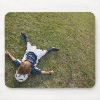 Soccer player with head on football mouse pad