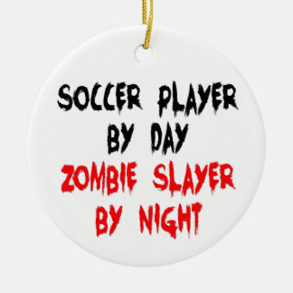 Soccer Player Zombie Slayer Double-Sided Ceramic Round Christmas Ornament