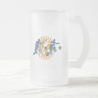 Soccer players Argentinian sun flag gifts Frosted Glass Beer Mug