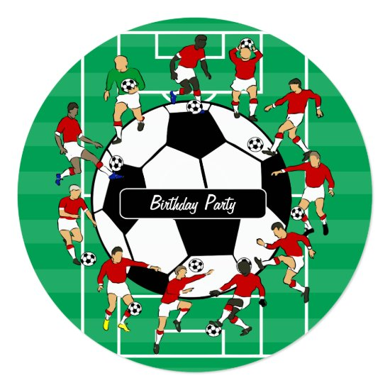 Soccer Players Birthday party invitations