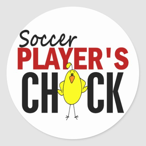 Soccer Player's Chick Round Sticker