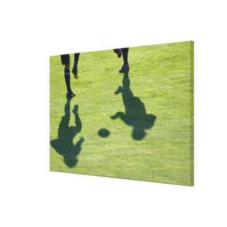 Soccer players doing drills. canvas print