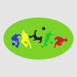 Soccer players   football sports fan oval sticker