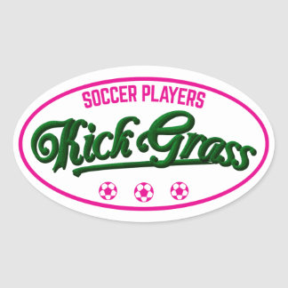 Soccer Players Kickgrass Oval Sticker