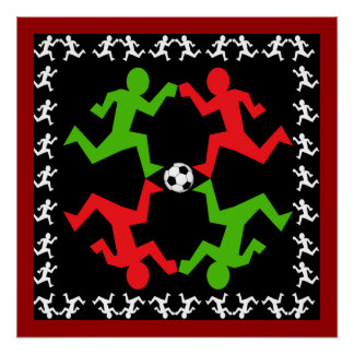 Soccer Players Running to the Ball Pattern Poster