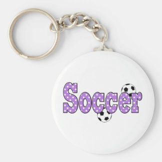 Soccer Polka Dots Basic Round Button Keychain
