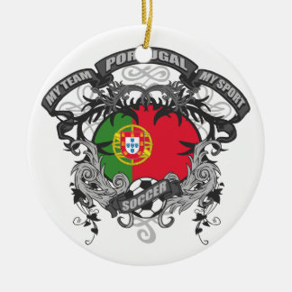 Soccer Portugal Double-Sided Ceramic Round Christmas Ornament