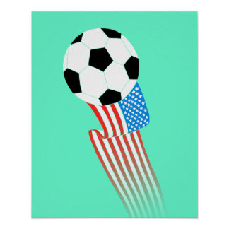 Soccer Poster: Turquoise USA