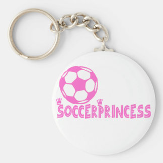 Soccer Princess 2 side Basic Round Button Keychain