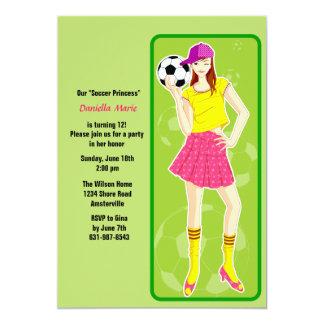 "Soccer Princess Birthday Party Invitation 5"" X 7"" Invitation Card"