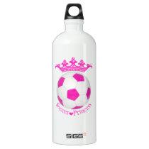 Soccer Princess, Pink Soccer ball Aluminum Water Bottle