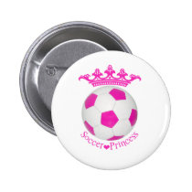 Soccer Princess, Pink Soccer ball Button