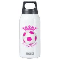 Soccer Princess, Pink Soccer ball Insulated Water Bottle