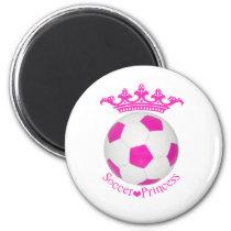 Soccer Princess, Pink Soccer ball Magnet