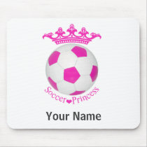 Soccer Princess, Pink Soccer ball Mouse Pad