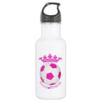 Soccer Princess, Pink Soccer ball Water Bottle