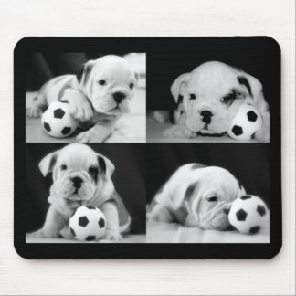 """Soccer Puppies"" English Bulldog Collage Mouse Pad"