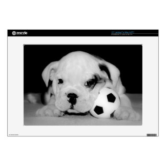 """Soccer Puppy"" English Bulldog 15"" Laptop Decal"