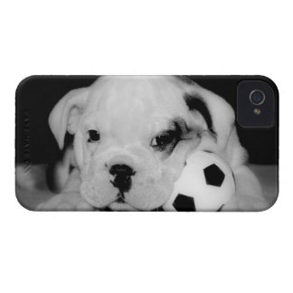 """""""Soccer Puppy"""" English Bulldog iPhone 4 Covers"""