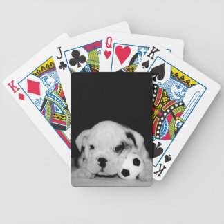 """Soccer Puppy"" English Bulldog Photography Bicycle Playing Cards"