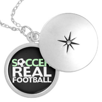 Soccer=Real Football Silver Plated Necklace