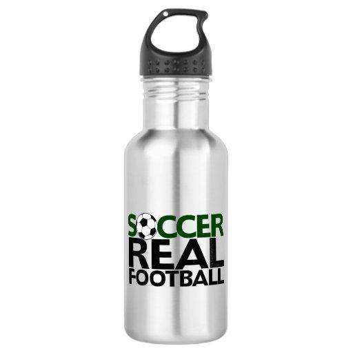 soccerreal football stainless steel water bottle zazzle