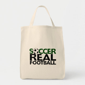 Soccer=Real Football Tote Bag