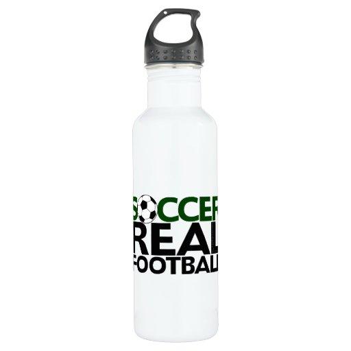 soccerreal football water bottle zazzle