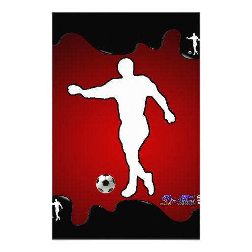 SOCCER RED BACKGROUND PRODUCTS PERSONALIZED STATIONERY