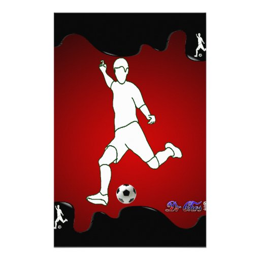 SOCCER RED BACKGROUND PRODUCTS CUSTOM STATIONERY