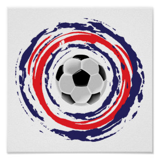 Soccer Red Blue And White Poster