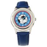 Soccer Red Blue Wrist Watch