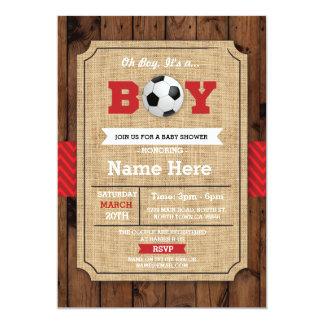 Soccer Red Boy Baby Shower Wood Football Invite