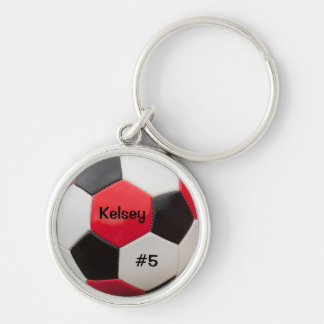 Soccer Red White and Black Key Ring Silver-Colored Round Keychain