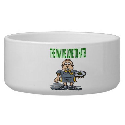 Soccer Referee Dog Water Bowls