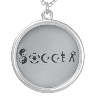 Soccer Religion Round Pendant Necklace