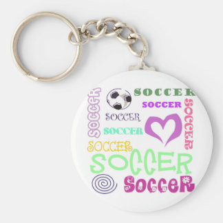 Soccer Repeating Basic Round Button Keychain