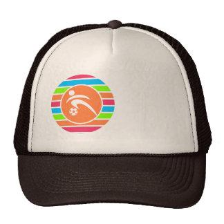 Soccer; Retro Neon Rainbow Trucker Hat
